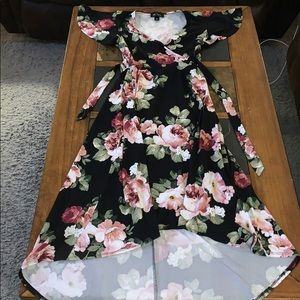 Black floral high to low dress